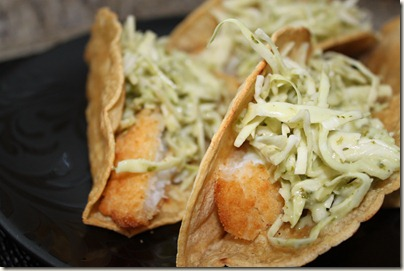 Homemade Fish Tacos, Trader Joes, Corn Tortillas, Baked Cod, Cilantro Dressing, Cabbage
