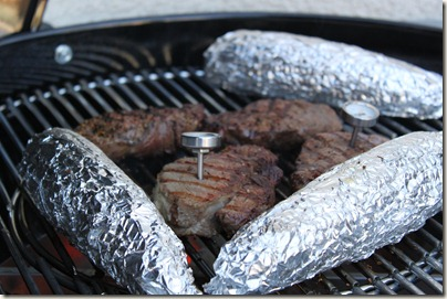 BBQ Steaks, Corn on the Cob in Foil