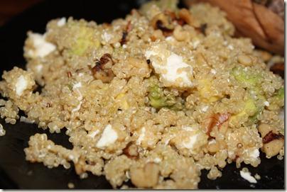 Quinoa Salad made with Quinoa, Avocado, Feta, and Chopped Walnuts