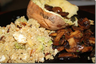 Vegetarian Dinner with Sweet Potato, Quinoa Avocado Feta Salad, and Balsamic Rosemary Mushrooms