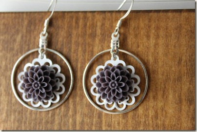 Blackberry White Doily Dahlia Hoop Earring